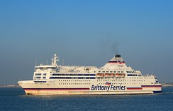MV Normandie, operated by Brittany Ferries, an English Channel RoRo vehicle and passenger ferry outward bound to France from Portsmouth.