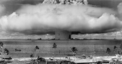 Underwater American nuclear test in the Pacific. Worldwide expressions of 'conscience' against such explosions caused the French Government to cease atmospheric tests at Mururoa for political reasons.