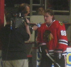 Patrick Kane, of the Chicago Blackhawks, being interviewed by Comcast SportsNet Chicago