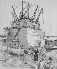 Richard Morris Hunt's pedestal under construction in June 1885