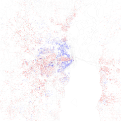 Map of racial distribution in Mobile, 2010 U.S. Census. Each dot is 25 people: White, Black, Asian, Hispanic or Other (yellow)