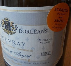 A wine label for a wine from Vouvray with a scratch and sniff sticker affixed to draw the consumer's attention.