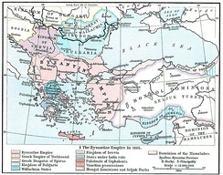 Map depicting Southeastern Europe in 1265.