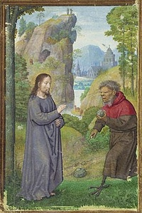 Sixteenth-century illustration by Simon Bening showing Satan approaching Jesus with a stone