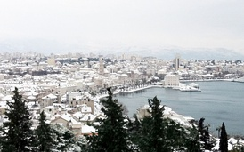 Snow is rare in Split.