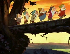"The famous ""Heigh-Ho"" sequence from Snow White and the Seven Dwarfs, the first American animated feature film, created by Walt Disney, and showing the seven dwarfs (Doc, Happy, Grumpy, Bashful, Sneezy, Dopey, Sleepy)."