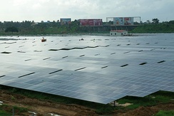 Solar panels at the international airport at Kochi, India, the world's first airport to be fully powered by solar energy.