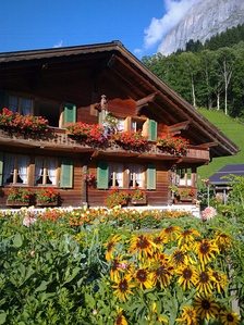 A typical chalet in the Swiss Alps