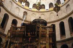 The Edicule of the Holy Sepulchre (The traditional location of Jesus' tomb) with the dome of the rotunda visible above.
