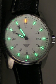 An illuminated watch face, using tritium