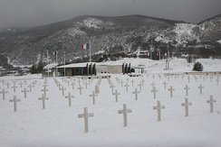 The cemetery and memorial in Vassieux-en-Vercors where, in July 1944, German Wehrmacht forces executed more than 200, including women and children, in reprisal for the Maquis's armed resistance.[10][11] The town was later awarded the Ordre de la Libération.[12]