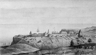 A view of Fort Ross in 1828 by A. B. Duhaut-Cilly. From the archives of the Fort Ross Historical Society