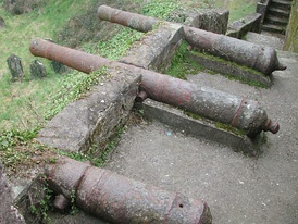Remains of a battery of English cannon at Youghal, County Cork