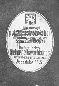 Czech inscriptions smeared by Sudeten German activists, March 1938, Teplice (German: Teplitz)