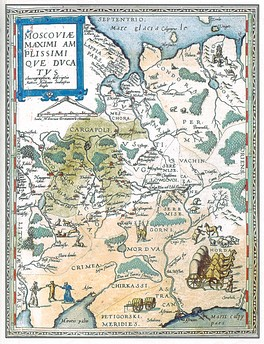 Map of Muscovy prepared by Anthony Jenkinson and Gerard de Jode (1593)