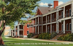 A postcard showing the exterior barracks, circa 1941
