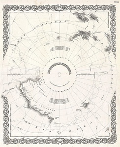 1855 map of Antarctica showing Ross's routes