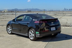 Chevrolet Volt with California's HOV lane access green sticker.