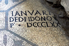 Basilica of Aquileia, 4th-century mosaic with Latin inscription: IANUARI DEDEI DONO P * DCCCLXX (Januarius paid for 870 square feet of mosaic)
