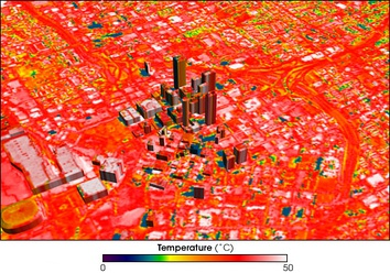 Image of Atlanta, Georgia, showing temperature distribution, with blue showing cool temperatures, red warm, and hot areas appear white.