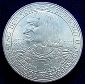 Commemorative Austrian 100 Schilling silver coin (1978). Obverse with the portrait of Rudolph I. Design Helmut Zobl