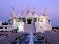The BAPS Shri Swaminarayan Mandir Toronto is located in Etobicoke, and it was built by Toronto's Gujarati Hindu community.