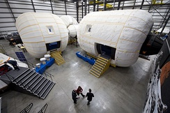 A full-scale mockup of Bigelow Aerospace's Space Station Alpha inside their facility in North Las Vegas.