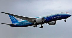 The first 787 taking off on its maiden flight in December 2009
