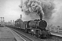 Steam train on the Cleveland Railway at Brotton, April 1961