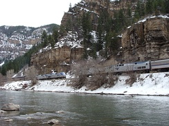 The westbound and eastbound California Zephyrs meet in the Glenwood Canyon