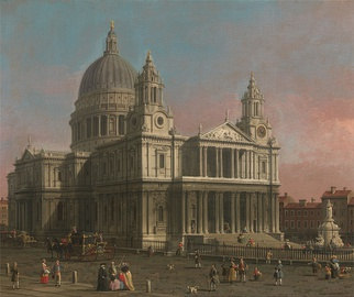 18th-century engraving of St Paul's from the north-west by Canaletto