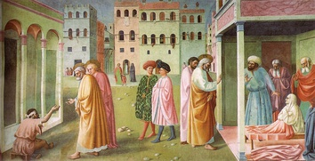 Masolino da Panicale's St. Peter Healing a Cripple and the Raising of Tabitha (c. 1423), the earliest extant artwork known to use a consistent vanishing point[20] (detail)