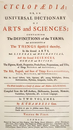 Title page of Chambers' 1728 Cyclopaedia, or an Universal Dictionary of Arts and Sciences