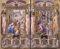 Adoration of the Magi and Solomon adored by the Queen of Sheba from the Farnese Hours (1546) by Giulio Clovio marks the end of the Italian Renaissance of illuminated manuscript together with the Index Librorum Prohibitorum.