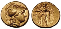 A golden stater of Philip III Arrhidaeus (r. 323–317 BC) bearing images of Athena (left) and Nike (right)