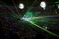 The laser and light effects from the group's Mylo Xyloto Tour