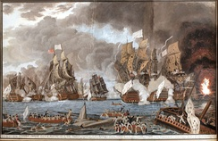 The Battle of the Saintes fought on 12 April 1782 near Guadeloupe