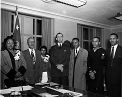 Pace (center) with the family of Medal of Honor recipient Cornelius H. Charlton in 1952.