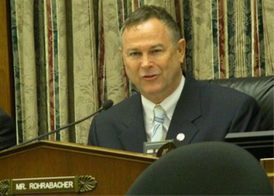 Rohrabacher presides over a meeting of the Space and Aeronautics Subcommittee of the House Science Committee.