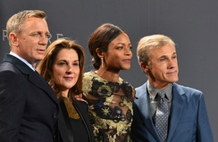 Daniel Craig, producer Barbara Broccoli, Naomie Harris and Christoph Waltz in a premiere for Spectre in Berlin.