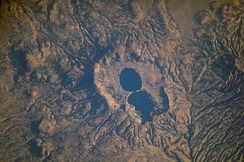 Mount Dendi double crater lake, Ethiopia (seen from the ISS)