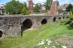 Remains of the medieval Exe Bridge, built around 1200[34]