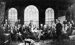 A painting depicting negotiations that would lead to the enactment of the British North America Act, 1867