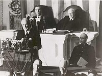 FDR's Pearl Harbor Speech. Behind him are Vice President Wallace and Speaker Rayburn (audio only)