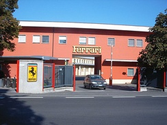 Photograph of the entrance to the Ferrari head office and factory in Maranello, Italy