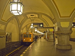 The Berlin U-Bahn (Metro) at Heidelberger Platz station