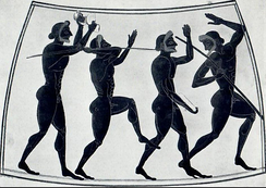 A scene depicting javelin throwers and other pentathletes. Originally found on a Panathenaic amphora from Ancient Greece, circa 525 B.C. British Museum.