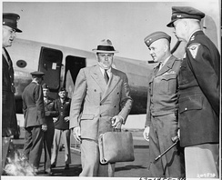 McCloy arrives at RAF Gatow in Berlin to attend the Potsdam Conference in 1945.