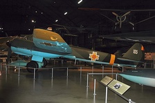 A preserved Junkers Ju 88 in the National Museum of the United States Air Force, painted with the Romanian markings it carried during World War II