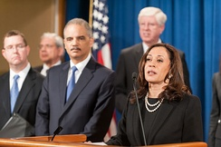 Kamala Harris with U.S. Attorney General Eric Holder